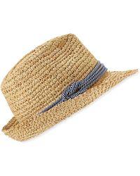 2da977b2493 Tracy Watts - Hitch Crochet Raffia Fedora Hat - Lyst