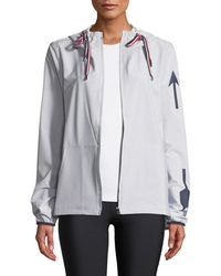 The Upside - Dupont Striped Hooded Logo Jacket - Lyst