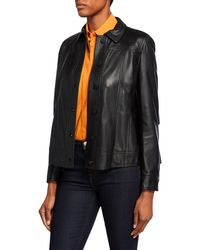 Akris Punto Perforated Leather Jacket - Black