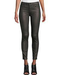 7 For All Mankind - Metallic Mid-rise Skinny Ankle Jeans - Lyst