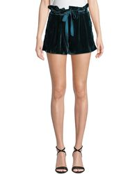 Parker - Vale Velvet High-rise Belted Shorts - Lyst