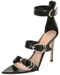 ece7ce42b5c1b6 Lyst - Manolo Blahnik Eremito Patent Leather Strappy Sandal in Black