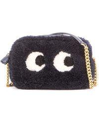 Anya Hindmarch | Mini Eyes Shearling Fur Crossbody Bag | Lyst