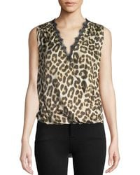 Velvet - Vada Leopard-print Sleeveless Top With Lace Trim - Lyst