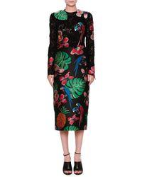 Valentino | Lace & Brocade Long-sleeve Dress | Lyst