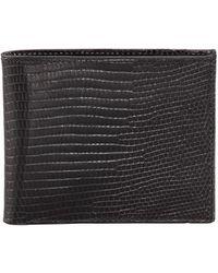Neiman Marcus - Lizard Slim Wallet Black - Lyst