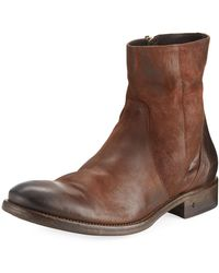 John Varvatos | Stanton Leather Ankle Zip Boot | Lyst
