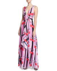 Josie Natori - V-neck Sleeveless Patterned Voile Maxi Dress - Lyst