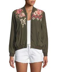 Johnny Was - Parnaz Embroidered Silk Crepe De Chine Bomber Jacket - Lyst