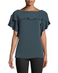 MILLY - Elle Ruffle-trim Silk-blend Top - Lyst