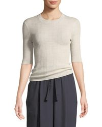 Vince - Shrunken Wool Crewneck 3/4-sleeve Top - Lyst