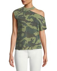 RTA - Axel Cold-shoulder Raw-edge Camo Tee - Lyst