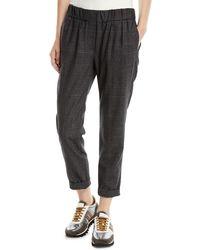 Brunello Cucinelli - Plaid Wool Pull-on Pants W/ Monili Stripe - Lyst