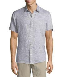 Michael Kors - Men's Short-sleeve Printed Linen Button-down Shirt - Lyst