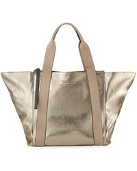 Brunello Cucinelli - Metallic Leather Zip-top Tote Bag - Lyst