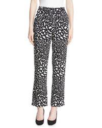 Etro - Leopard-print Straight-leg Crepe Cropped Pants - Lyst