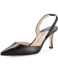 Manolo Blahnik - Carolyne Leather Mid-heel Halter Pump - Lyst