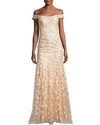 Jovani | Off-the-shoulder Tulle Leaf Gown | Lyst