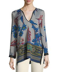 Etro - Striped Orchid Knit Pullover Sweater - Lyst
