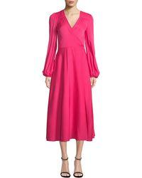 MILLY - Gina Long-sleeve Stretch Silk Midi Wrap Dress - Lyst
