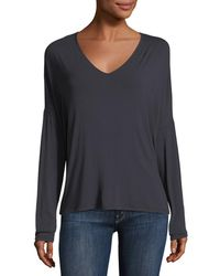 Neiman Marcus - Soft Touch Long-sleeve Relaxed V-neck Tee - Lyst