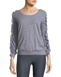 Lanston | Ruffled Long-sleeve Scoop-neck Pullover Top | Lyst