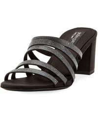 Pedro Garcia - Xaki Multi-strap Block-heel Shimmer Slide Sandal - Lyst