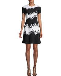 Valentino - -waves Stretch-viscose Jacquard Short-sleeve A-line Knit Dress - Lyst