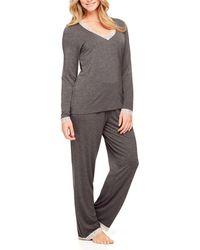 Fleur't - Two-piece Lace-trim Pajama Set With Shelf Bra - Lyst