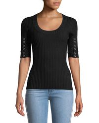 3.1 Phillip Lim - Ribbed 3/4-sleeve Sweater W/ Button Details - Lyst