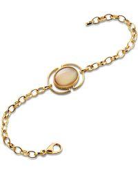 Monica Rich Kosann - Cognac Mother-of-pearl Locket Station Bracelet In 18k Yellow Gold - Lyst