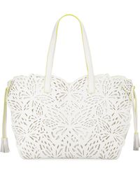 Sophia Webster - Liara Canvas Laser-cut Leather Butterfly Tote Bag - Lyst