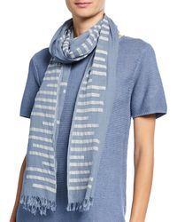 Eileen Fisher - Organic Cotton Jamdani Bars Scarf - Lyst