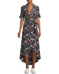 Equipment - Imogene Floral-print Silk Long Wrap Dress - Lyst