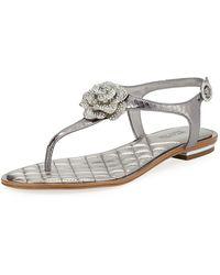 MICHAEL Michael Kors - Lucia Flat Metallic Leather Thong Sandals - Lyst