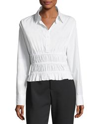Robert Rodriguez - Shirred-waist Long-sleeve Cotton Poplin Shirt - Lyst