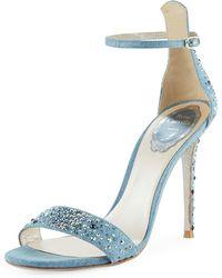 Rene Caovilla - Embellished Denim Strappy Sandals - Lyst