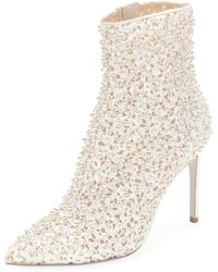 Rene Caovilla - Embellished Booties With Golden Beading - Lyst