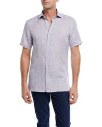 Ermenegildo Zegna - Heathered Linen Short-sleeve Sport Shirt - Lyst