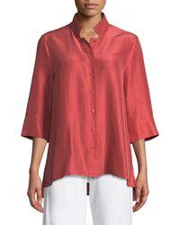 Eileen Fisher Plus Size 3/4-sleeve Silk Doupioni Shirt