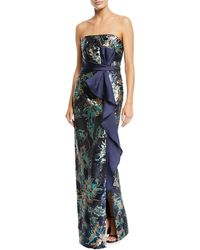 Marchesa notte - Strapless Sequin Peony Column Gown - Lyst