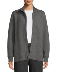 Eileen Fisher - Boiled Wool High-collar Zip-front Jacket - Lyst