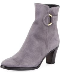 Gravati - Suede Booties With Ring - Lyst