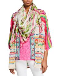 Johnny Was Galore Floral-print Silk Georgette Scarf With Tassels - Multicolor