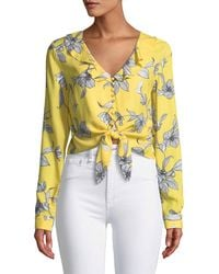 Bardot - V-neck Long-sleeve Tie-waist Floral-print Top - Lyst