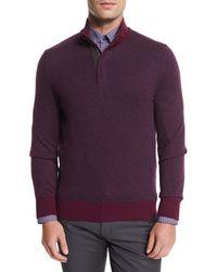 Ermenegildo Zegna - Birdseye Cashmere-blend Quarter-zip Sweater - Lyst