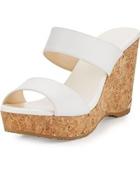 Jimmy Choo - Parker Two-band Cork Wedge Sandal - Lyst