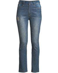 Alice + Olivia - Fabrice Studded Straight-leg Jeans - Lyst