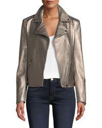 Neiman Marcus - Metallic Leather Moto Jacket - Lyst