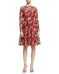 Valentino - Lotus Guipure Lace Long-sleeve Dress - Lyst